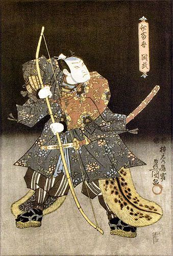Samurai Saitogo Kunitake - Japanese Woodblock Print Repro - Wall Scroll close up view