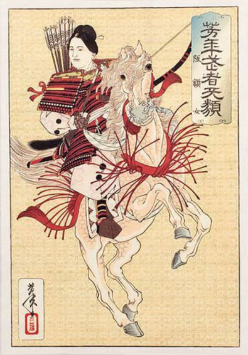 Female Samurai Hangaku - Japanese Woodblock Print Repro - Wall Scroll close up view