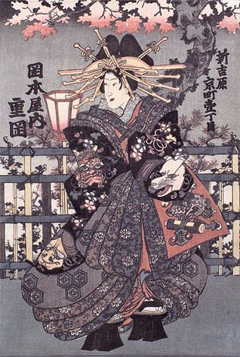 Shigeoka Geisha - Japanese Woodblock Print Repro - Wall Scroll close up view