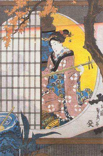 View from the Garden - Japanese Woodblock Print Repro - Wall Scroll close up view