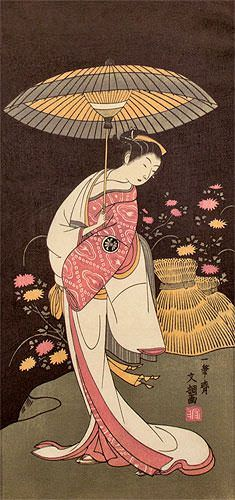 Japanese Geisha Parasol Print Wall Scroll close up view