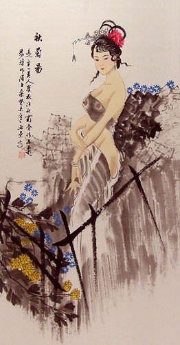 Autumn Chrysanthemum Semi-Nude Sexy Asian Woman Wall Scroll close up view