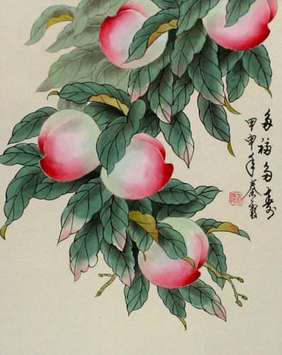 Many Good Wishes and a Very Long Life Peach Tree Wall Scroll close up view