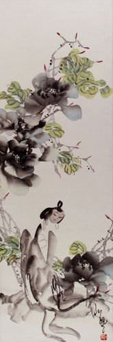 Jiang Feng's Abstract Asian Art Wall Scroll close up view