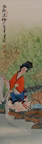 Xi Shi - Most Beautiful Woman in Chinese History - Wall Scroll close up view