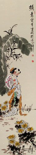 Warm Summer Day - Young Chinese Girl - Wall Scroll close up view