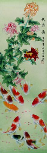 Koi Fish and Chrysanthemum Chinese Wall Scroll close up view