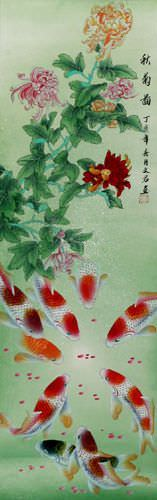 Koi Fish and Chrysanthemum Wall Scroll close up view