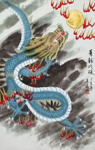Blue Chinese Dragon - Asian Silk Wall Scroll close up view