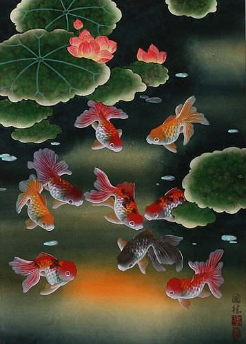 Gold Fish & Flowers - Asian Wall Scroll close up view