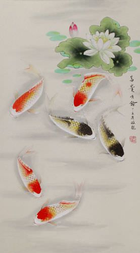Chinese Koi Fish and Lotus Pond Wall Scroll close up view