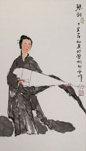 Abstract Woman and Lute Chinese Wall Scroll close up view