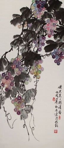 Traditional Chinese Grapes Wall Scroll close up view