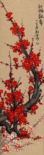 Bright Red Plum Blossom Wall Scroll close up view