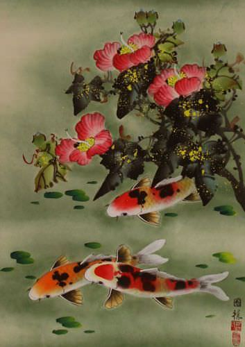 Koi Fish & Flower - Chinese Wall Scroll close up view