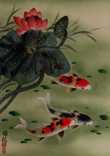 japanese art flowers. Koi Fish amp; Flower - Asian Art