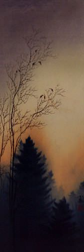 Twilight Birds' Song Wall Scroll close up view