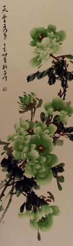 Green Chinese Peony Flower Wall Scroll close up view