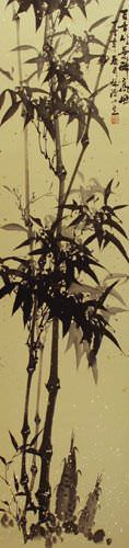 Classic Chinese Black Ink Bamboo Wall Scroll close up view