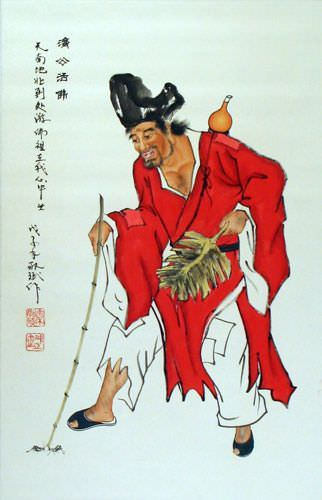 Ji Gong - The Mad Monk - Chinese Wall Scroll close up view