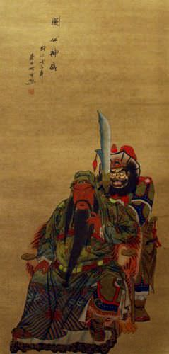 Brothers in Arms - Partial-Print Chinese Wall Scroll close up view