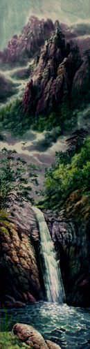 North Korean Waterfall Wall Scroll close up view