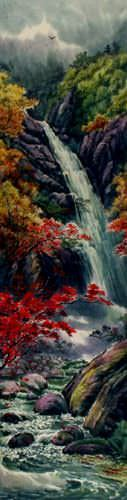 Waterfall of North Korea - Landscape Wall Scroll close up view