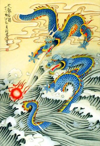 Two Dragons Pearl Fireball Revelry - Chinese Wall Scroll close up view