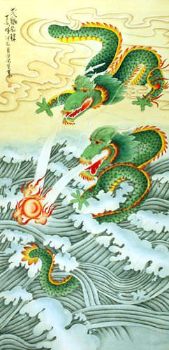 Big Two Dragons Playing with Pearl of Lightning - Wall Scroll close up view
