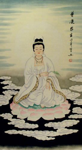 Guanyin / Kuan Yin / Kannon - Wall Scroll close up view