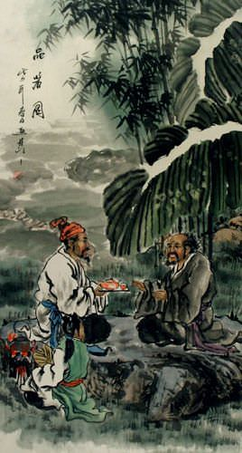 Drinking Good Tea - Ancient Style Wall Scroll close up view