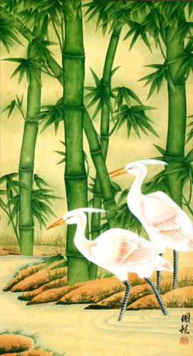 Big Egrets and Green Bamboo Wall Scroll close up view