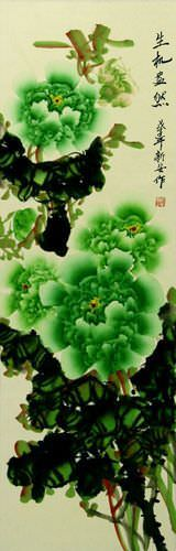 Green Asian Peony Flower Wall Scroll close up view