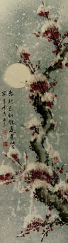 Snow Plum Blossom Chinese Wall Scroll close up view