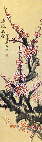 Colorful Reddish-Pink Plum Blossom Wall Scroll close up view