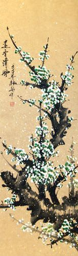 Green Spring Plum Blossom Wall Scroll close up view