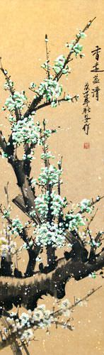 Green Plum Blossom - Asian Wall Scroll close up view