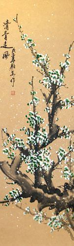 Green Plum Blossoms - Chinese Wall Scroll close up view