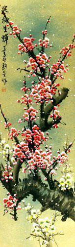 Reddish-Pink Plum Blossom - Chinese Wall Scroll close up view