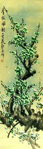 Chinese Green Plum Blossom Wall Scroll close up view