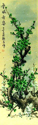 Colorful Green Plum Blossoms Wall Scroll close up view