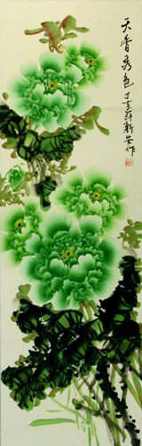 Green Peony Flower Chinese Wall Scroll close up view