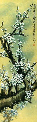 Fragrant Green Plum Blossom Wall Scroll close up view
