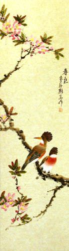 Spring Colors - Bird and Flower Wall Scroll close up view