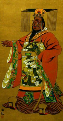 God Qin Qiong - Wall Scroll close up view