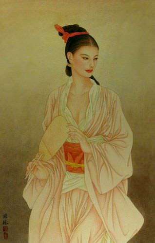Beautiful Woman - Contemporary Chinese Art Wall Scroll close up view
