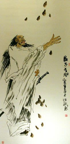 The Poet Qu Yuan - Wall Scroll close up view