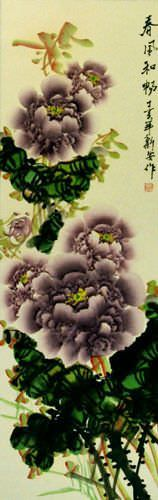 Purple Peony Flower Chinese Wall Scroll close up view