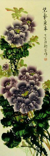 Vivid Purple Peony Flower Wall Scroll close up view