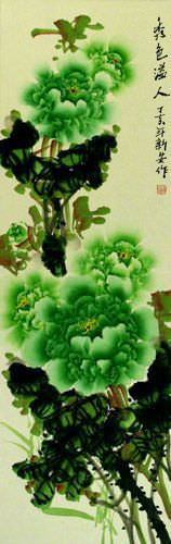 Peony Green Flower Chinese Wall Scroll close up view